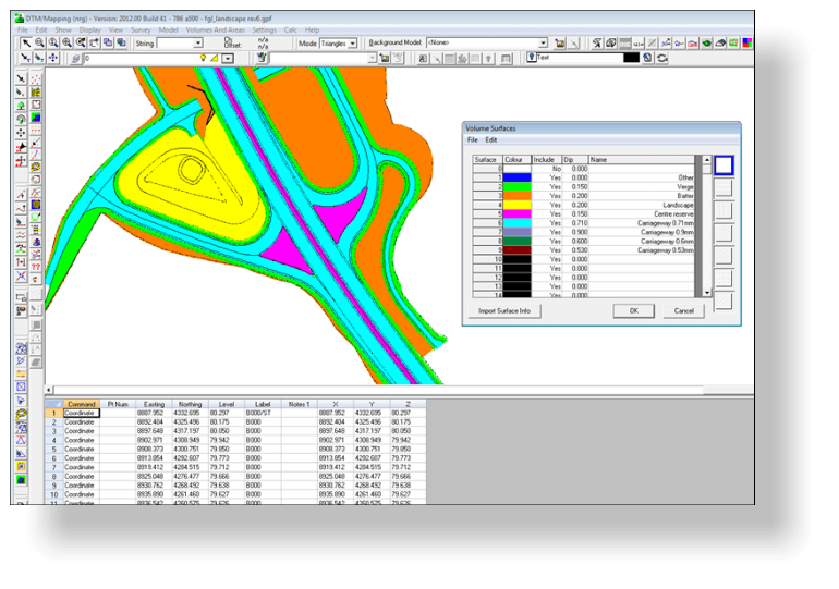 Defining volume surface settings including the dip applied each surface