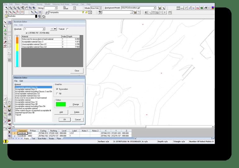 Entering borehole data into dtm map