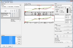 NRG Survey Software Cross Section module - Setting options to create a cross section report.