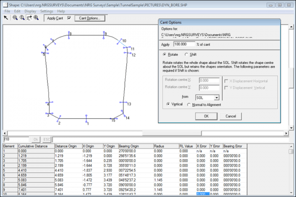 NRG Survey System Tunnelling software - Entering data for shape file.