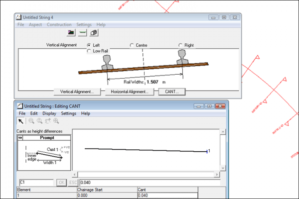 NRG Survey Software Road Rail Design - Entering rail cant for a rail design.