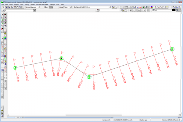 NRG Survey Software Road Rail Design - An alignment created from four IPs.
