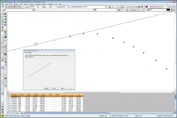 NRG Survey Software Road Rail Design - Creating an alignment through a series of points using the curve design wizard. Points are selected to detemine the entry and exit straights along with points around the curve.