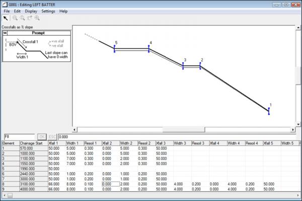 NRG Survey Software Road Rail Design - Entering batter information.