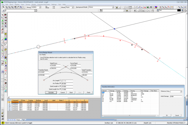 NRG Survey Software Road Rail Design - The curve design wizard creates a curve from the selected points. Spiral lengths and arc radius can be manually entered and the resulting TPs calculated.