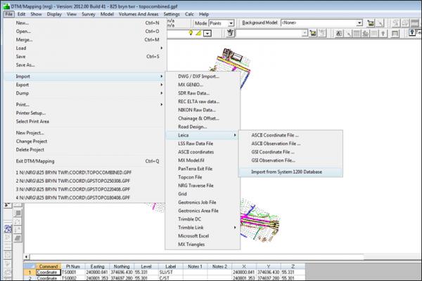 NRG Survey System DTM Map Module - Data import options