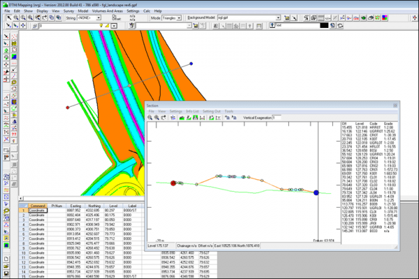 NRG Survey System DTM Map Module - Live cross section through a model. The section shown in green is a model loaded into the background.