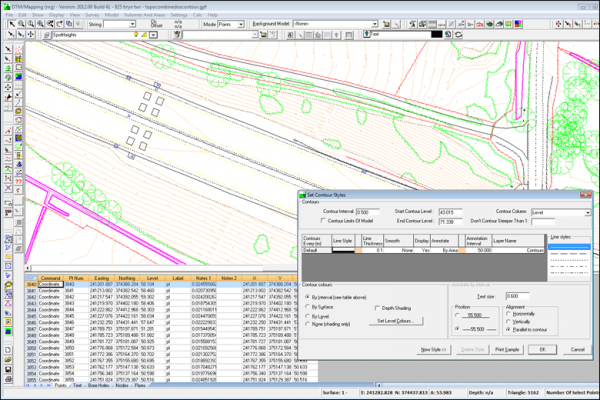 NRG Survey System DTM Map Module - Displaying contours on a triangulated model.