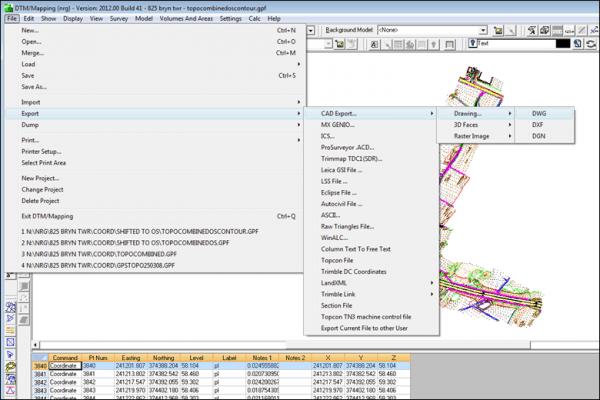 NRG Survey System DTM Map Module - Export options.