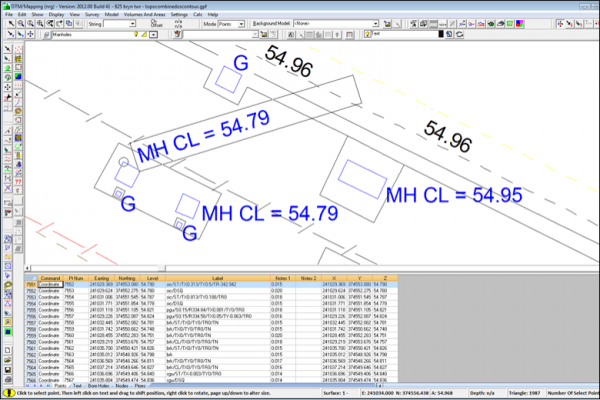 NRG Survey System DTM Map Module - Editing text annotation.