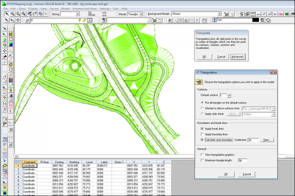 NRG Survey System DTM Map Module - Triangulating a coordinate file.