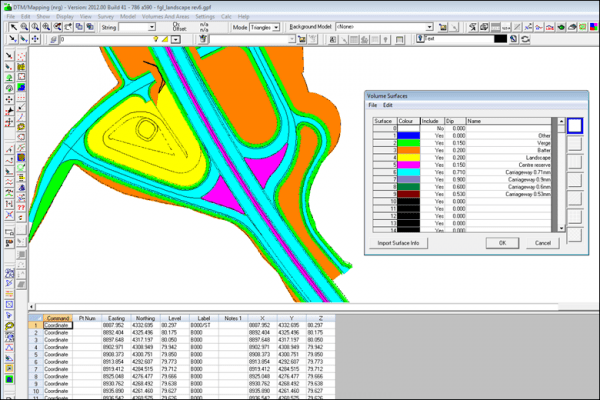 NRG Survey System DTM Map Module - Surfacing a model for volume calculations.