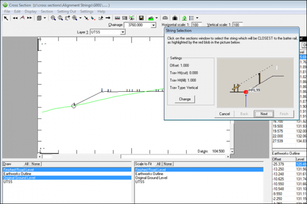 NRG Survey System Cross Sections - Generating setting out information from a scetion layer.
