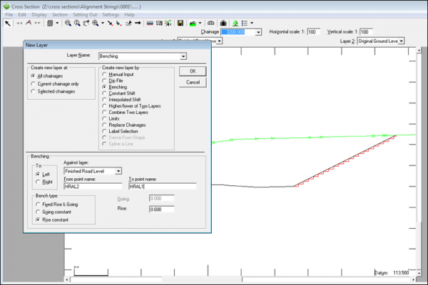 NRG Survey System Cross Sections - Options for creating new layers in a section file.