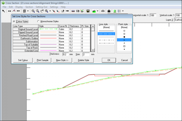 NRG Survey System Cross Sections - Defining line styles for different layers in the section.