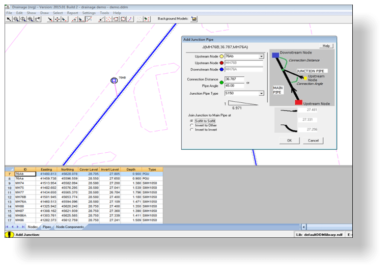 NRG Survey software drainage module adding junction to a piperun
