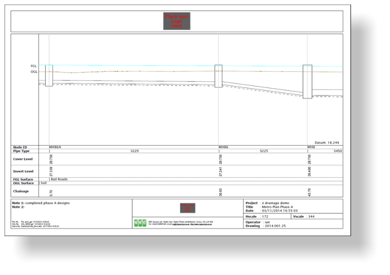 NRG Survey software drainage module longsection of piperun