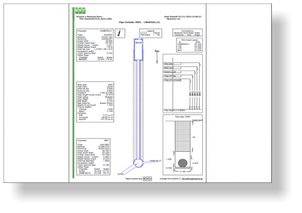 NRG survey software drainage module pipe run detail drawing