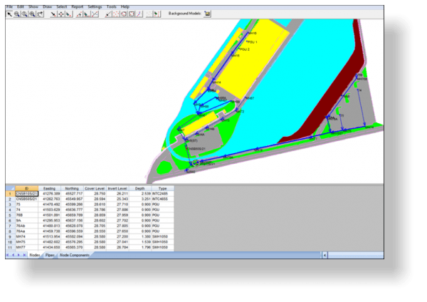 NRG survey software drainage module plan view of drainage data with background model displayed