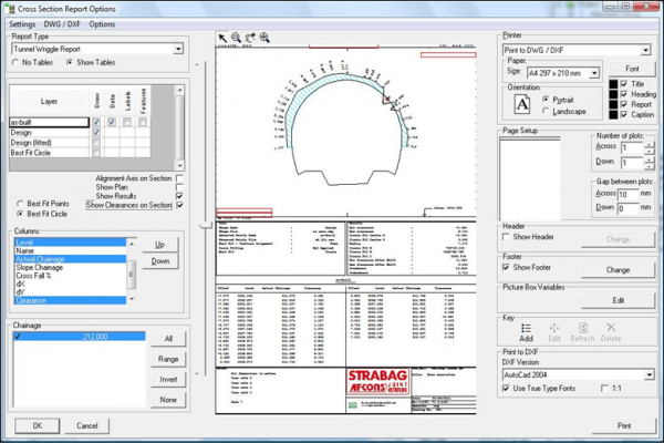 NRG Survey System Tunnelling software - Setting report options for a tunnel wriggle report.