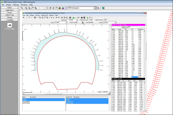 NRG Survey System Tunnelling software - A tunnel wriggle showing clearances between an asbuilt section and the design profile together with a best fit profile fitted to the asbuilt section.