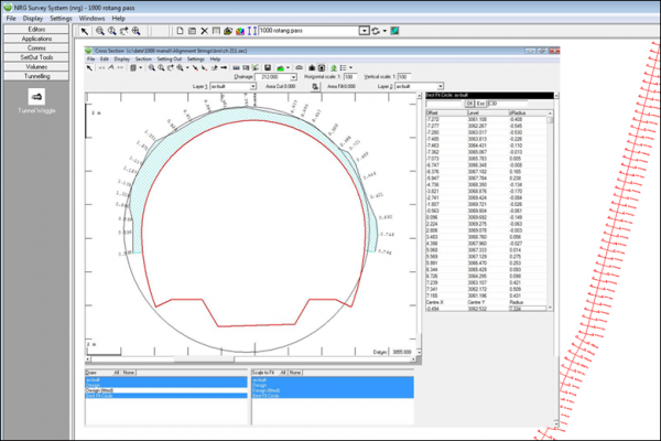 NRG Survey System Tunnelling software - A tunnel wriggle showing clearances between an asbuilt section and the tunnel design profile.