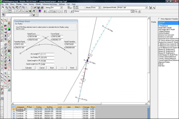 NRG Survey System Tunnelling software - Using DTM Map to redesign a tunnel alignment.