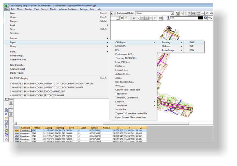 Exporting a finished survey in dtm map