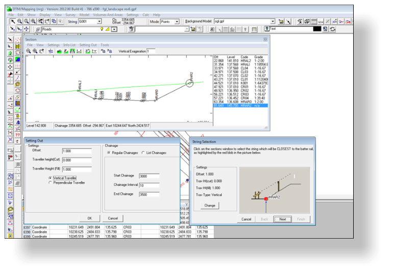 Generating batter rail setting out data using the batter rail wizard in dtm map