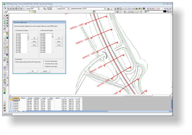 Importing a mcgenio file inluding geometry design alignments into dtm map