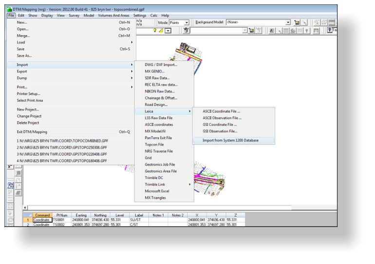 Importing raw survey data into NRG Survey Software Digital Terrain Modelling module DTM Map