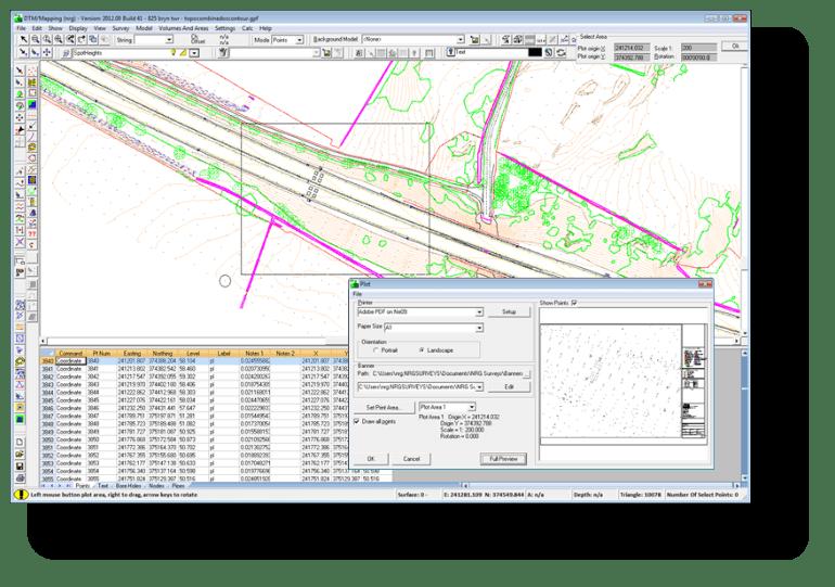 Plotting a survey in dtm map