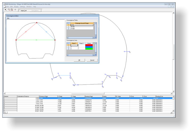 The shape editor for entering the tunnel design profile. Points and subsequent lines can be defined around the shape for monitoring convergence.