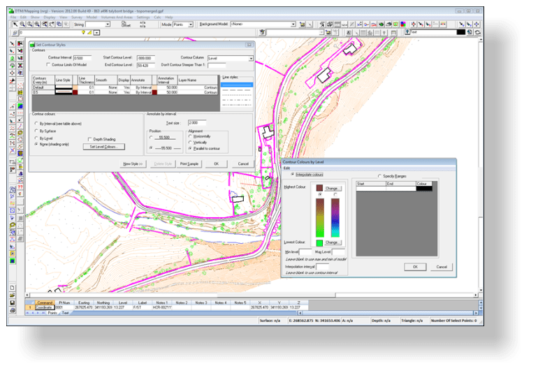 Use the contour options to change the way contours are drawn and annotated