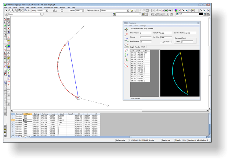 Using the cogo tool to calculate coordinates and level along an arc with a specified arc radius