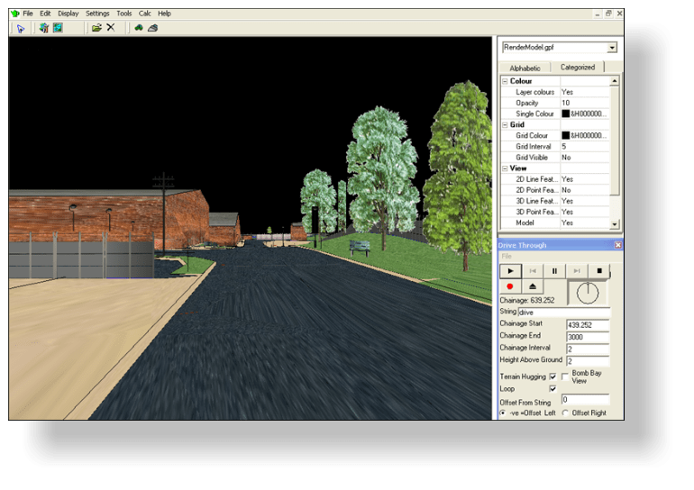 Viewing a drive through a rendered model