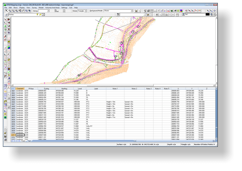 Viewing survey data in dtm map data is displayed both visually in plan and in tabular form